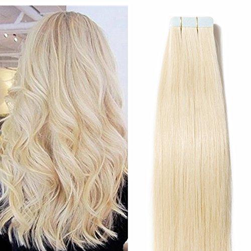 40cm extension capelli veri adesive tape in riutilizzabile - 60# biondo platino 20 fasce 50g - 100% remy capelli naturali lisci
