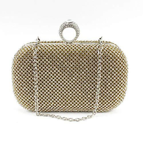 HG&& Damen Clutch Handtasche Kette Bankettabendtasche Perle Diamant Glitzer Bag Elegante Kettentasche Shiny Strass Braut Hochzeit Party Portemonnaie Umhängetasche/Gold - West-clutch-handtasche