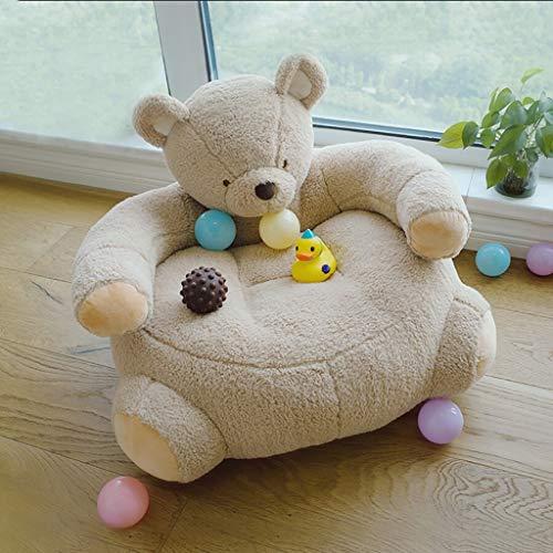 Sessel NUBAO Kinder Spielzeug Sitz, Flanell Abdeckung PP Baumwolle Gefüllt Thema Bär Braun Weiß (Color : Brown, Size : 65cm × 55cm) -