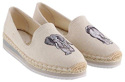 SimpleC Las Mujeres Cuñas del Talón de la Lona Antideslizante Alpargatas Smoking, Cute Animal Embroidery Antideslizante Soft Sole Loafers Beige Elefante38.5