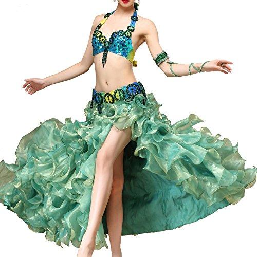 MoLiYanZi Beaded Pailletten Belly Dance Kostüm für Frauen Professional Performance Dress begrenzen Bra Gürtel Skirt 3 PCs , (Kostüme Dance Bilder Jazz)