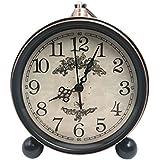 Reloj despertador clásico Retro, saytay Vintage Silent reloj de escritorio además de alarma funciona con pilas estilo europeo Silencioso de cuarzo movimiento HD lente de cristal, fácil de leer para Living habitación de los niños casa decorativa