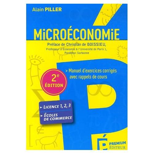 Microéconomie : Manuel d'exercices corrigés avec rappels de cours