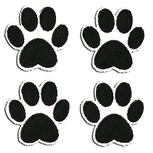 Toppe termoadesive - set zampa del cane - nero/bianco - 3,6x3,6cm - patch toppa ricamate applicazioni ricamata da cucire adesive