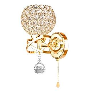 ABEDOE LED Wandbeleuchtung Kreative Moderne Kristall Wandleuchte LED Wandleuchte Wandlampe dekorative Wandleuchte Mit schalter Chrom-Finish(Gold)