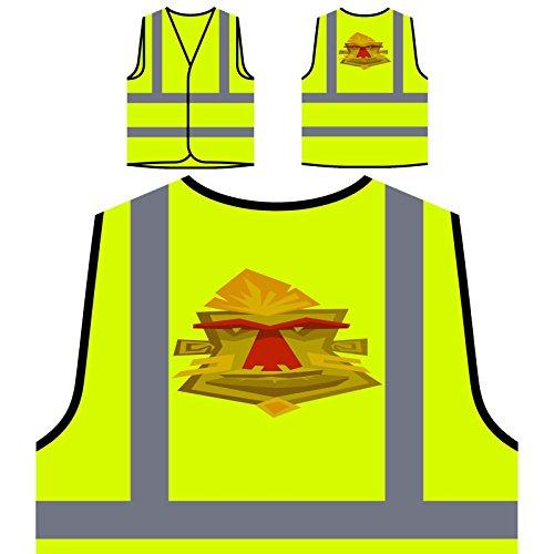 Stammes- Maske Aloha Kunst Personalisierte High Visibility Gelbe Sicherheitsjacke Weste p875v