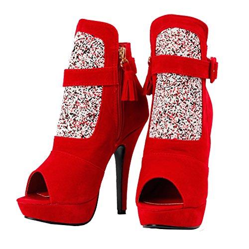 Visualizza storia Glam nero/rosso Piattaforma Stiletto Ankle Bootie spuntata, LF30304 Rosso