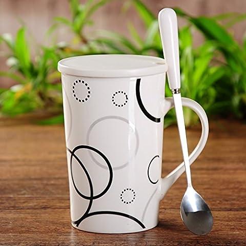Simple taza de cerámica creativa de los pares de la Copa de gran capacidad taza beber taza de leche cubierta cuchara ( Color : #8