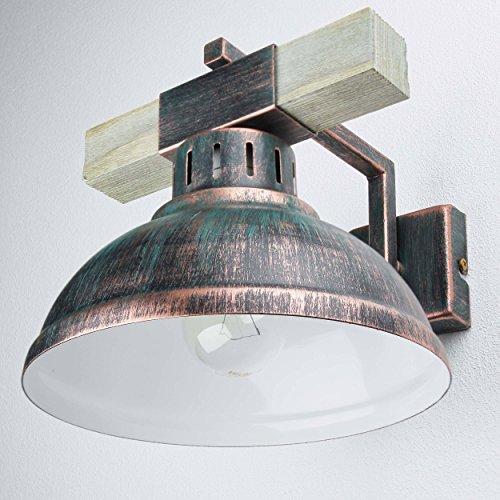 Wandleuchte Vintage Kupfer Antik 1x E27 bis zu 60W 230V Leuchte Holz und Metall Wandlampe Industrie Retro Leuchten Esszimmer Küche Wohnzimmer Beleuchtung