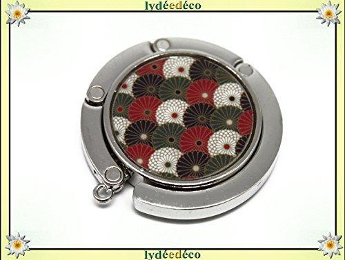 Hanging Handtasche Harz Fan Japan rot schwarz weiß grün Silber Metall Durchmesser 4,5 cm personalisiertes Geschenk Weihnachten Geburtstag Hochzeit Gäste Mutter Saint Valentin Freund Herrin ()