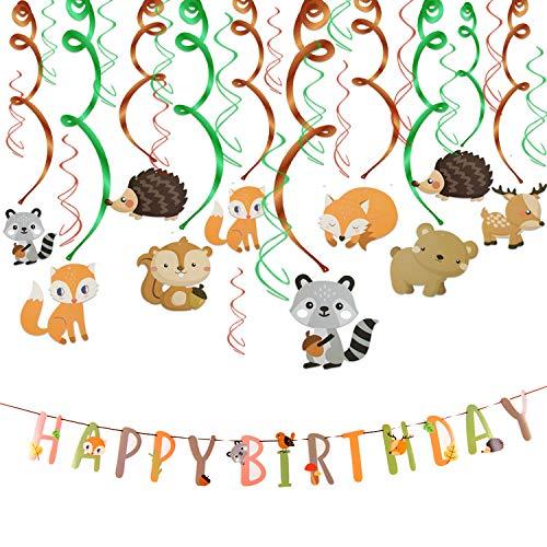Howaf 30 teilig Partyset Tier Party deko Hängedekoration Folie Spiral Girlanden und Happy Birthday Banner für Junge und Mädchen geburtstagsdeko Kinder Geburtstags Dekoration