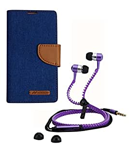 Aart Fancy Wallet Dairy Jeans Flip Case Cover for NokiaN520 (Blue) + Zipper Earphones/Hands free With Mic *Stylish Design* for all Mobiles- computers & laptops By Aart Store.