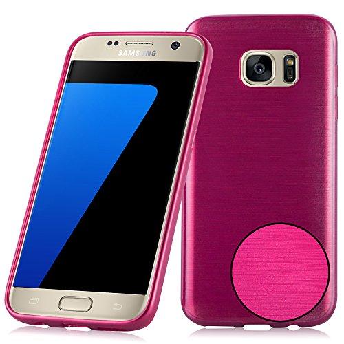 Cadorabo Hülle für Samsung Galaxy S7 - Hülle in PINK – Handyhülle aus TPU Silikon in gebürsteter Edelstahloptik (Brushed Design) - Ultra Slim Soft Backcover Case Bumper