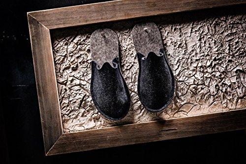 Orthopant Pantoufles en Feutre Pour Invités, Unisexe, Fermé au Talon, Respirant, Antidérapant - Feutre Fine Pour UNE Chaleur Agréable - Fait Main du Tyrol du Sud Anthracite