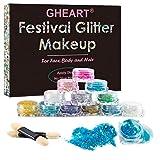 Glitzer Make up für Gesicht, Körper und Haare - Chunky Festival Glitzer Gel für Lippen, Body Glitzer Sequin - Haarglitter für Partys und Karneval - 12 Farben
