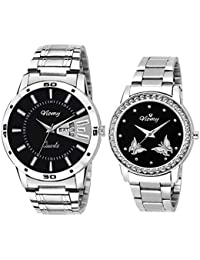 VIOMY Combo of Round Day and Date Series Fine Studded Stone Analogue Black Dial Men's Watch