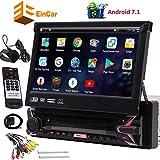 EINCAR 7' HD DVD para el Coche Individual DIN Android 7.1 Quad Core CPU Radio de Coche Receptor GPS con navegación GPS estéreo RDS WiFi OBD SWC Espejo, 1 GB de RAM 16 GB de ROM, Bluetooth, micrófono