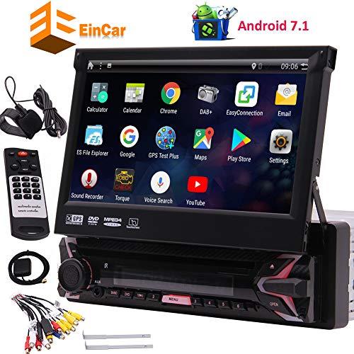 EINCAR 7' HD Car Dvd Player Singolo DIN Android 7.1 Quad Core CPU autoradio Ricevitore di Navigazione GPS con Il GPS Stereo RDS WiFi OBD SWC Specchio, 1 GB di RAM 16 GB Rom, Bluetooth, Microfono EST