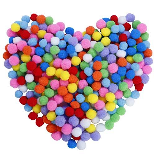 MaoXinTek Pompons, Bunte Pompom, Pom Pom Balls Flauschigen Plüsch Klein Bälle 1 Zoll/25mm für Lustige Kinder DIY Kreative Handwerk Dekorationen 300 Stücke -