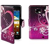 32nd Smartphone-Schutzhülle / Handytasche für Samsung Galaxy S2 i9100, PU-Leder, Kreditkartenfächer, Displayschutzfolie, Reinigungstuch Pink Love Heart