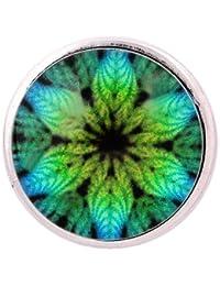ANDANTE CHUNK Click-Button charm con cierre a presión (hoja verde-turquesa-azul) para pulseras Chunk, anillos Chunk y otros accesorios Chunk