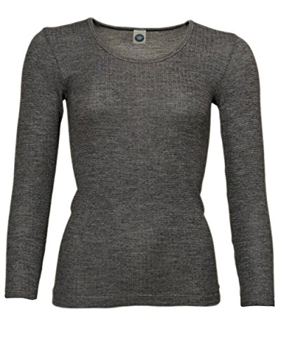 Cosilana, Damen Unterhemd langarm, 45% kbA Baumwolle, 35% kbT Wolle, 20% Seide Schwarz Melange