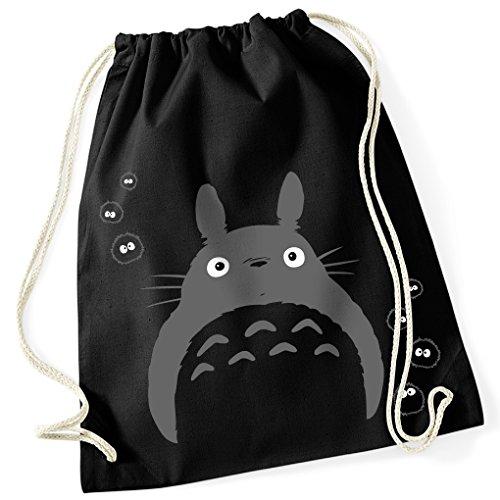 Mein Nachbar Totoro Studio Ghibli Kult / Turnbeutel mit Fun Motiv Aufdruck / Rucksack GYM Jutebeutel / Ideales Geschenk, Color:Black (Kostüm Design Schulen Film)