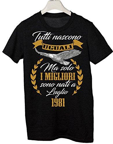 Tshirt tutti nascono uguali ma solo i migliori sono nati a Luglio 1981 - eventi - compleanno - Tutte le taglie by tshirteria Nero