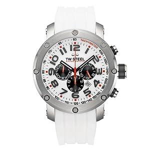 Reloj TW Steel TW-122 unisex de cuarzo con correa de silicona blanca - sumergible a 100 metros de TW-Steel