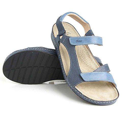 Batz Tara Sandales Chaussure en Cuir de Qualité Supérieure Femme Eté Bleu
