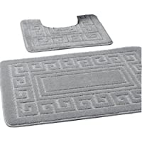 New Greek Style 2 Piece Bath Mat Set Non-Slip 13 Colours (Grey)