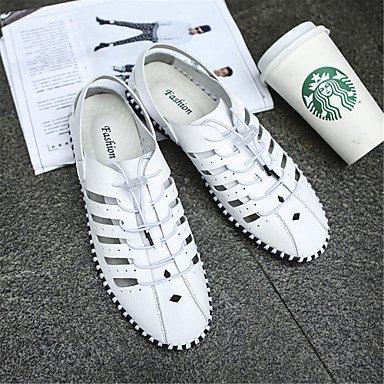 Herren Sandalen Frühling Sommer Comfort Light Sohle Leder Outdoor Casual flachem Absatz Gore Schwarz Weiß Schuhe White