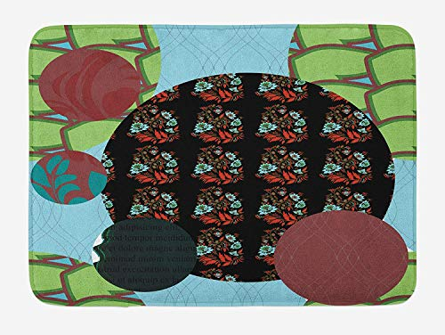 Abstract Bath Mat, Patchwork with Geometric Forms Arabesque Lines Asian Flowers Circles Artful Motif, Plush Bathroom Decor Mat with Non Slip Backing, 23.6 W X 15.7 W Inches
