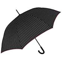 Classic Pinstripe Men Boys Umbrella - Golf Windproof Resistant Large Brolly with Fiberglass - Dark Red Border and White Lines - PFC Free - Automatic Opening - Diam 120 cm - Perletti Technology