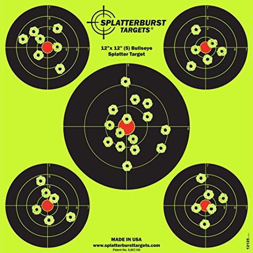 Paket von 25 - Splatterburst Targets - 30,5 cm x 30,5 cm (5) Bullseye Reaktive Ziele - Schüsse platzen leuchtend fluoreszierend gelb beim Aufprall - Gewehr - Pistole - AirSoft - BB Gun - Luftgewehr