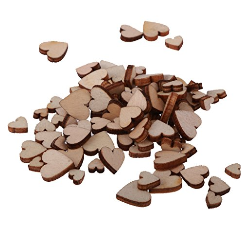 Rare 100pcs Assorted Size Wooden Shape Hearts Embellishments for Crafts