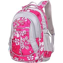 SellerFun Kinder Junge Mädchen Bedruckter Wasserfester Rucksack bzw. Schultasche(Rose,S)