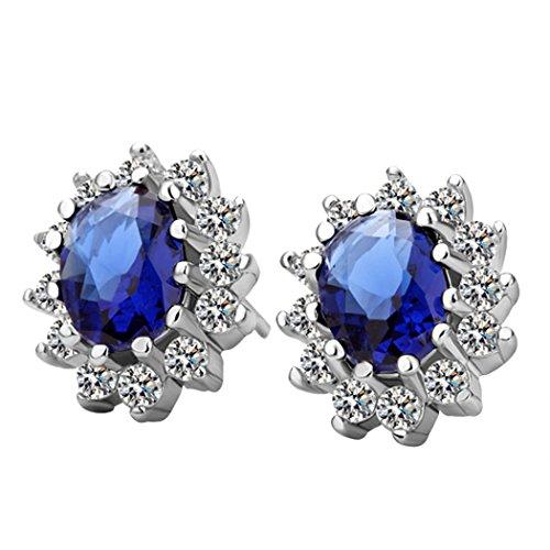 YC Top elegante principessa blu girasole con zirconi orecchini a perno