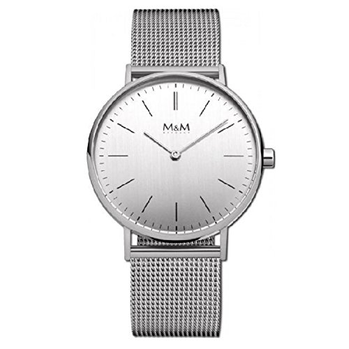 M&M reloj de pulsera para mujer de acero inoxidable plateada best Basic