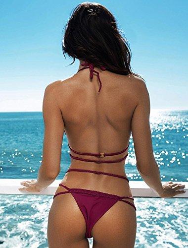 Chicolife Damen Bandage Bikini Satz Sexi Push-up Gepolstert Halter Bandeau Mit Elastischem Verband Brick Red