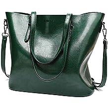 Bolsos con bandoleras bolsos mujeres Mujeres de aceite de gran capacidad Wax Leather Tote Bag Casual