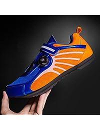 SXLZ Zapatillas De Carretera Zapatillas De Ciclismo Zapatillas De Carretera Profesionales Ligeras con Rayas Reflectantes Zapatillas De Atletismo,Blue-37 EU
