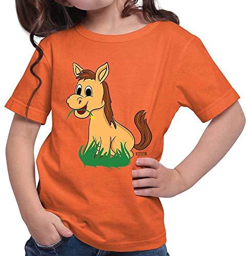 HARIZ Mädchen T-Shirt Süßes Pferd Frisst Gras Tiere Zoo Inkl. Geschenk Karte Orange 116/5-6 Jahre