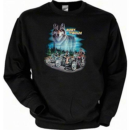 Sweatshirt mit Motiv - Born to roam Wolf mit Bikes - Motorrad Sweater Amerika USA als Geschenk-Idee für Biker - Schwarz, Größe:L