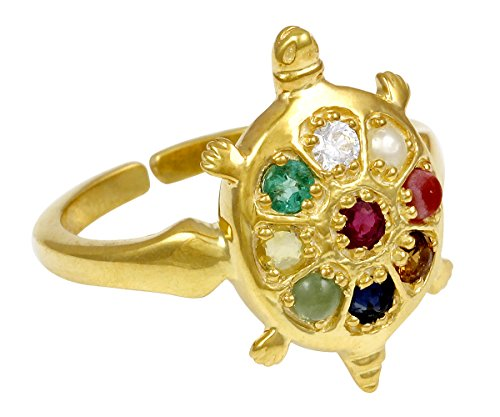 Exxotic Jewelz 0 75Ct Sterling Silver Gold Plated Navaratna Stone