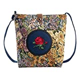 Longra Donna modello floreale Rose ricamata tela di canapa singola zip e borsa Hasp (Blu)