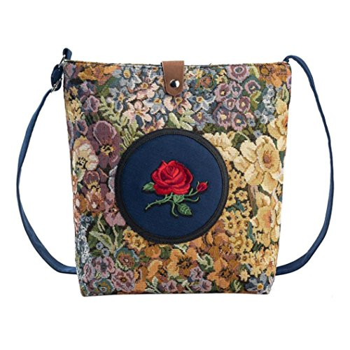 Longra Donna modello floreale Rose ricamata tela di canapa singola zip e borsa Hasp Blu