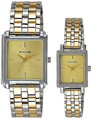 51N4EF18yYL - Sonata 70538080BM01 Champagne Couple watch