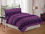 Bombay Dyeing Satin Dreams Cotton Double Bedsheet with 2 Pillow Covers - Purple