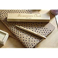 Coffret stylo personnalisé en bois avec double gravure. Coffret cadeau idéal anniversaire, personnalisation avec gravure du prénom. Gravé sur mesure.